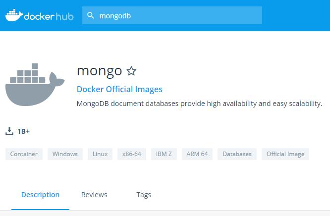 Página oficial de la imagen de mongo en docker