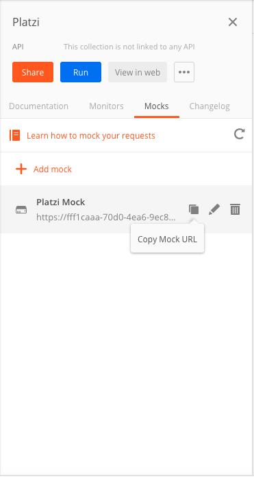 Copiar url de mock server